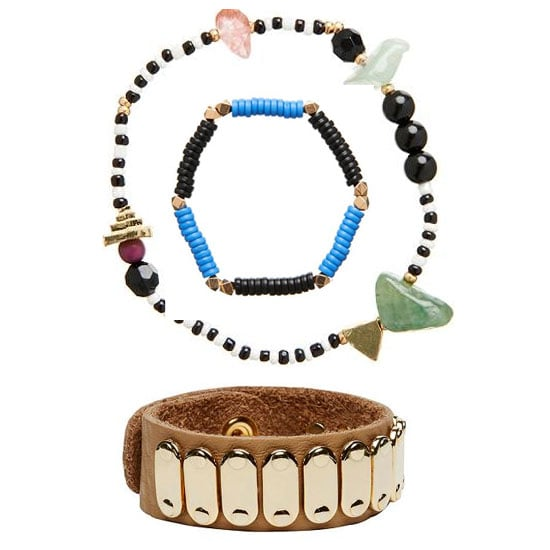 A bit of wrist candy is pretty much a non-negotiable. Stack 'em high. Bracelets (top to bottom), $9.95, $9.95 and 39.95, all Seed