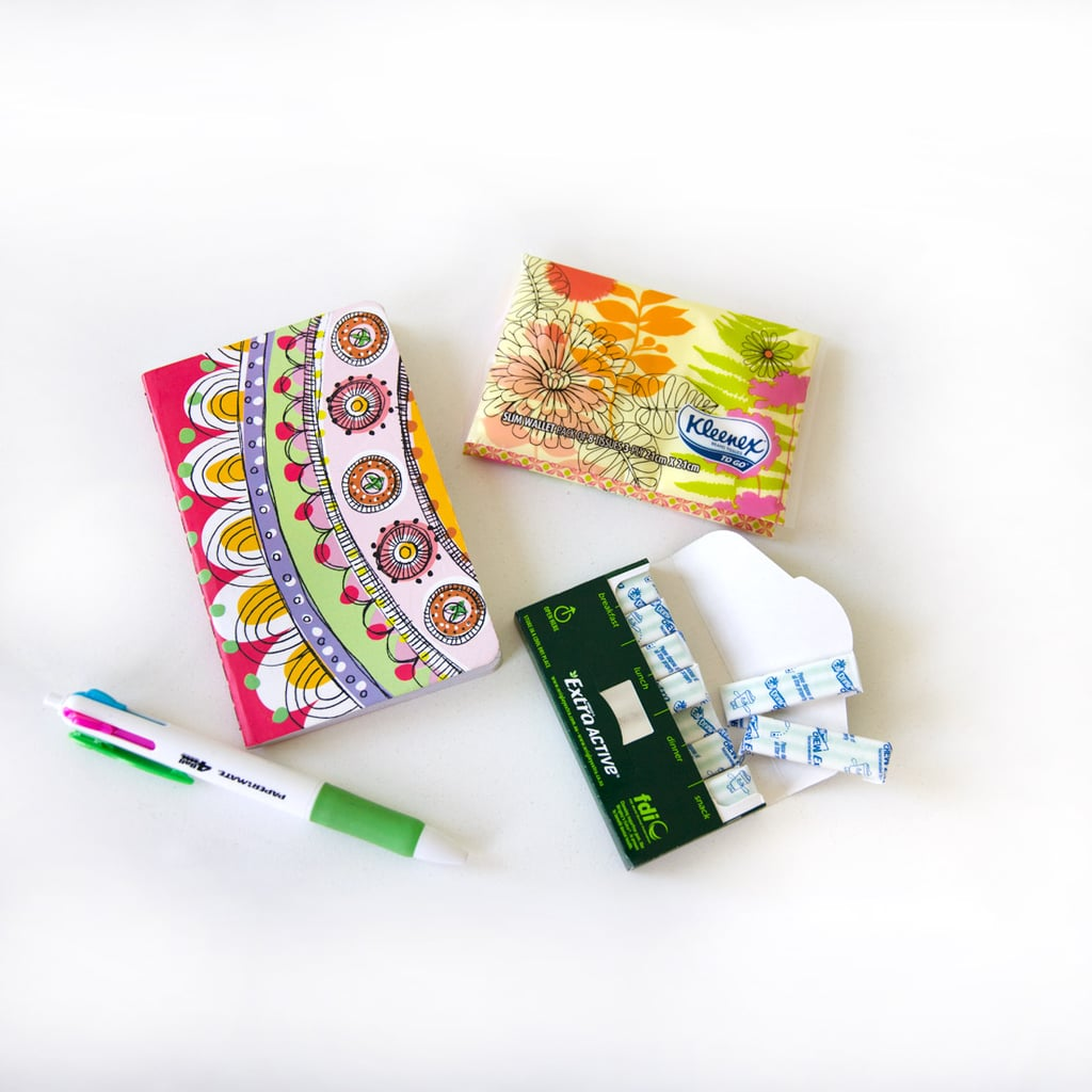 The little patterned notebook is the perfect size for any handbag and jotting down notes. Tissues, gum, pen — we all have these in our bags, right?