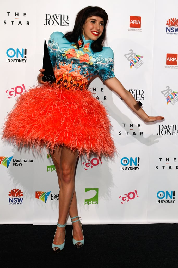 Kimbra made a colourful splash backstage the 2012 ARIA Awards in Sydney on November 29.