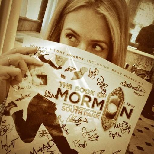 Cat Deeley caught a production of The Book of Mormon. Source: Twitter user catdeeley