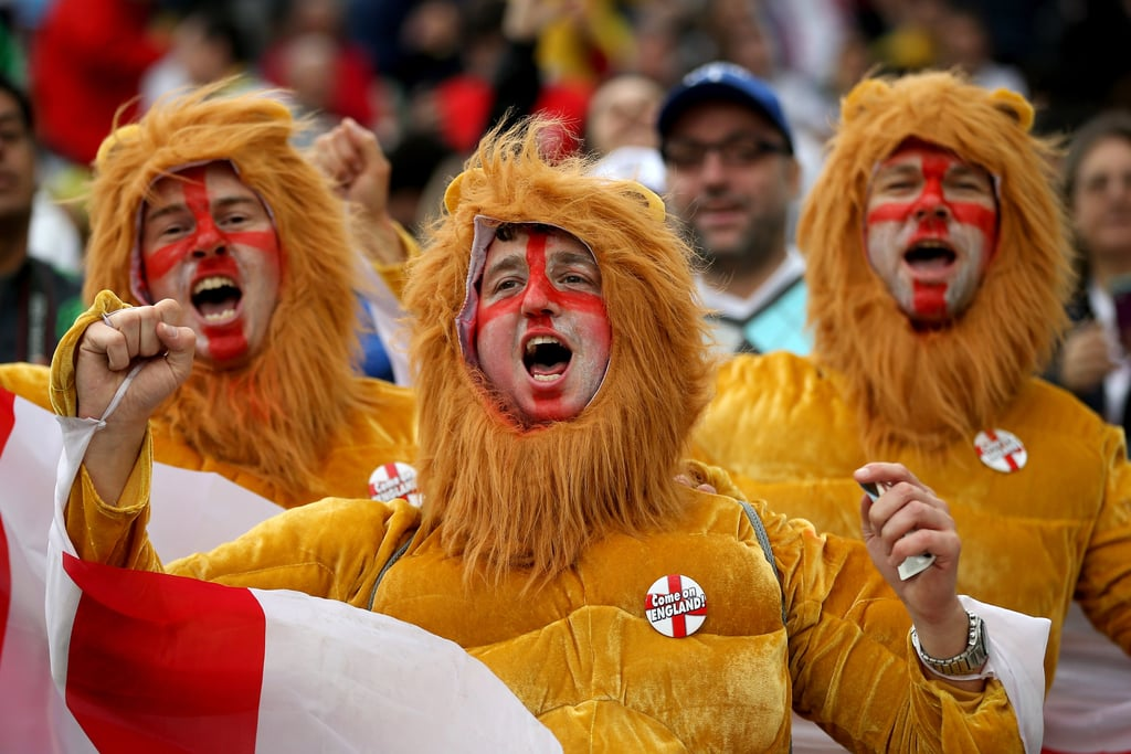 England fans dressed up as the three lions for the game against Uruguay in Brazil.