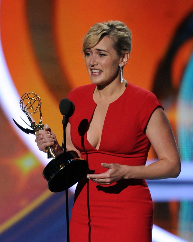 Kate Winslet's down-to-there dress was the perfect complement to her shiny new Emmy in September 2011.