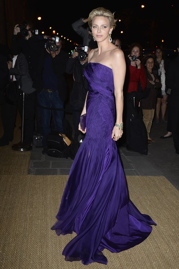 At Ralph Lauren's Les Beaux-Arts dinner in Paris, Princess Charlene of Monaco was a standout in her vivid purple gown.
