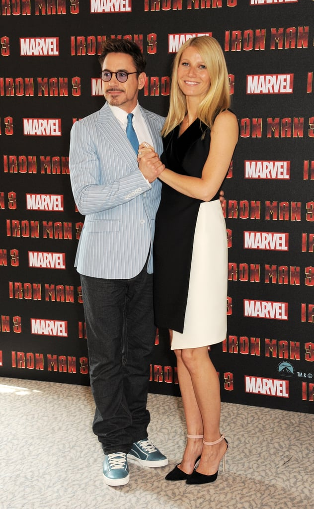 Gwyneth Paltrow and Robert Downey Jr. got flirty during an Iron Man 3 photo call in London.