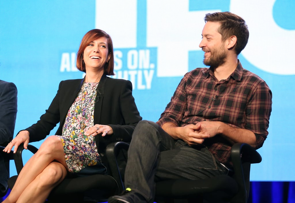 Kristen Wiig and Tobey Maguire shared smiles.