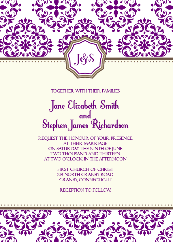European Pattern Monogram Wedding Invitation 72 Beautiful Wedding Invite Pr
