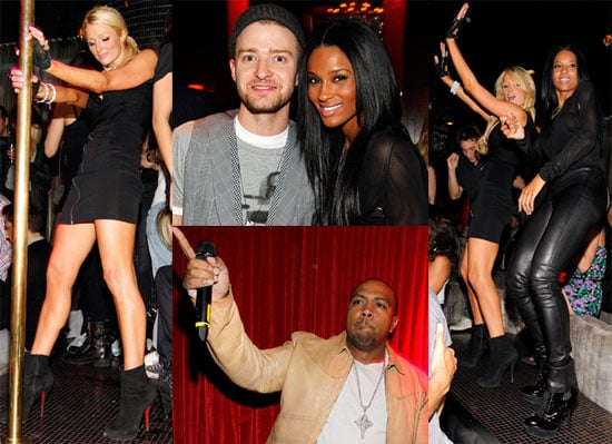 Pictures of Paris Hilton Pole Dancing and Justin Timberlake at Timbalands Birthday Party 2010-04-29 11:30:00
