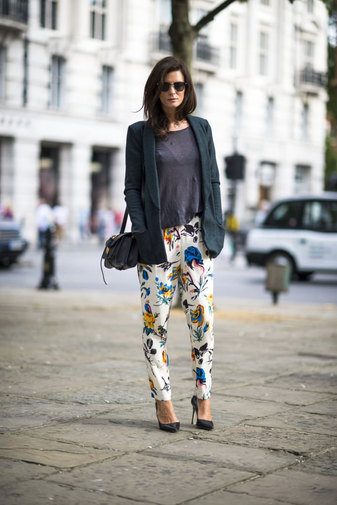 Florals feel infinitely more seasonal with warmed-up layers on top. Add in a cozy long-sleeved shirt and a boyfriend blazer to give pretty prints seasonal staying power. Source: Adam Katz Sinding