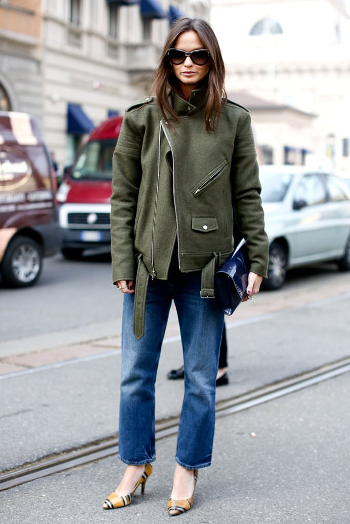 Proof that it doesn't take a lot; sometimes just a great jacket, easy denim, and posh heels deliver impeccably chic results.