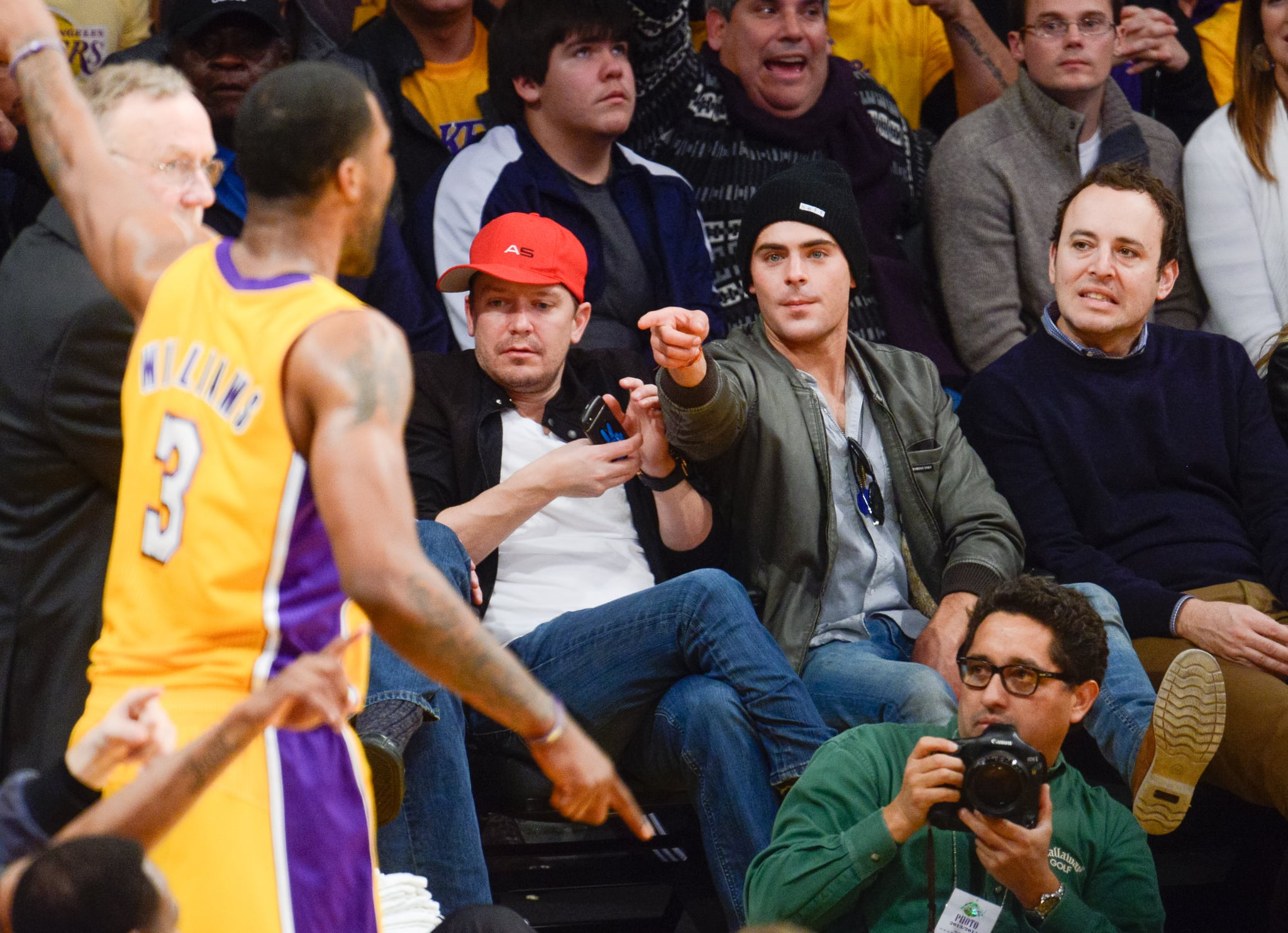 In December 2013, Zac Efron got involved when his LA Lakers played the Minnesota Timberwolves.
