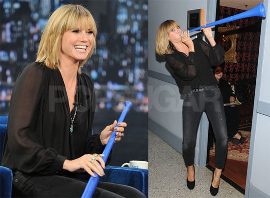 Pictures of Heidi Klum Playing a Vuvuzela on Late Night With Jimmy Fallon