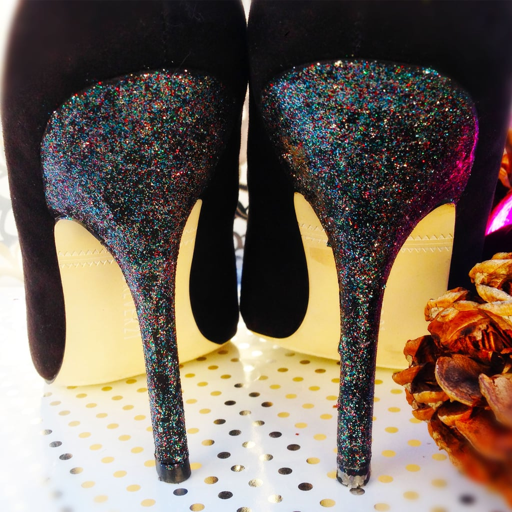 Holiday Hack! Fix Scuffed Heels With Glitter Polish