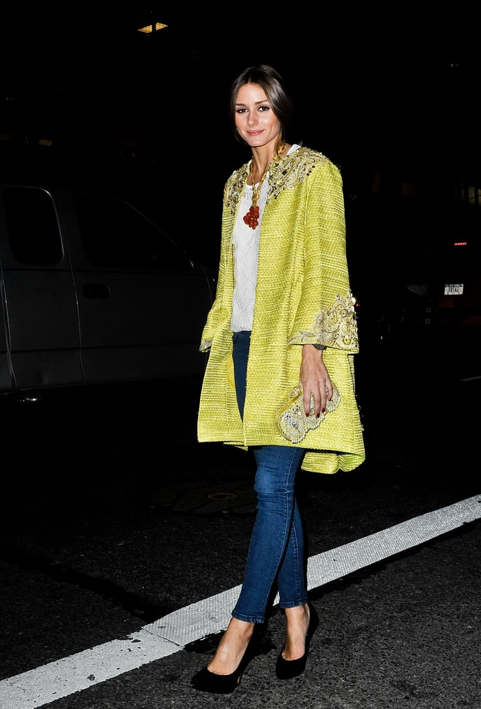 Olivia Palermo showed her support for Marchesa in one of the designer's ornately embellished statement coats.
