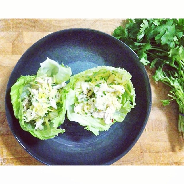 Lunch today! Green mango and chicken salad, all whipped together by our health and beauty journalist, Steph.