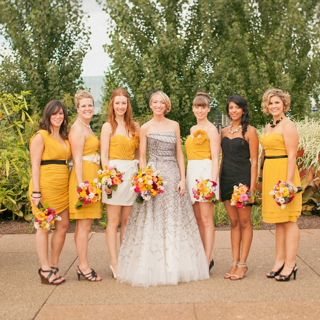"""Wanting her six bridesmaids to be able to express their personalities, Kristin gave them free rein to choose their dresses. Fashion-forward Kristin never dreamed of a white wedding dress; instead she went with a gown that was much more """"her""""—a unique blend of bridal and runway. Source: Sweet Little Photographs"""