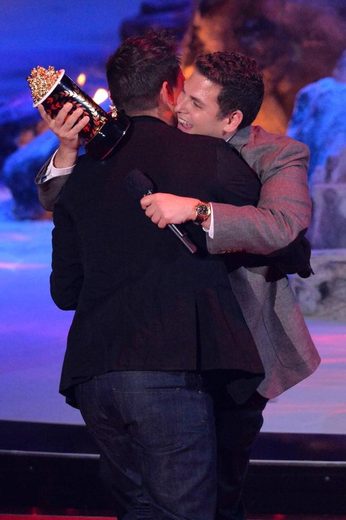Jonah Hill gave Channing Tatum a hug while presenting him with the trailblazer award.