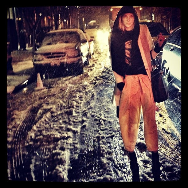 Looking as chic as one possibly can in heavy snowfall, Jess Hart made her way to Helmut Lang's NYFW show. Source: Instagram user 1jessicahart