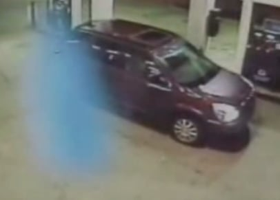 Gas Station Surveillance Camera Catches Ghost on Tape