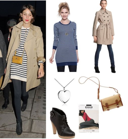 Alexa Chung Wears a Striped Sweater Dress and Trench Coat at London Fashion Week