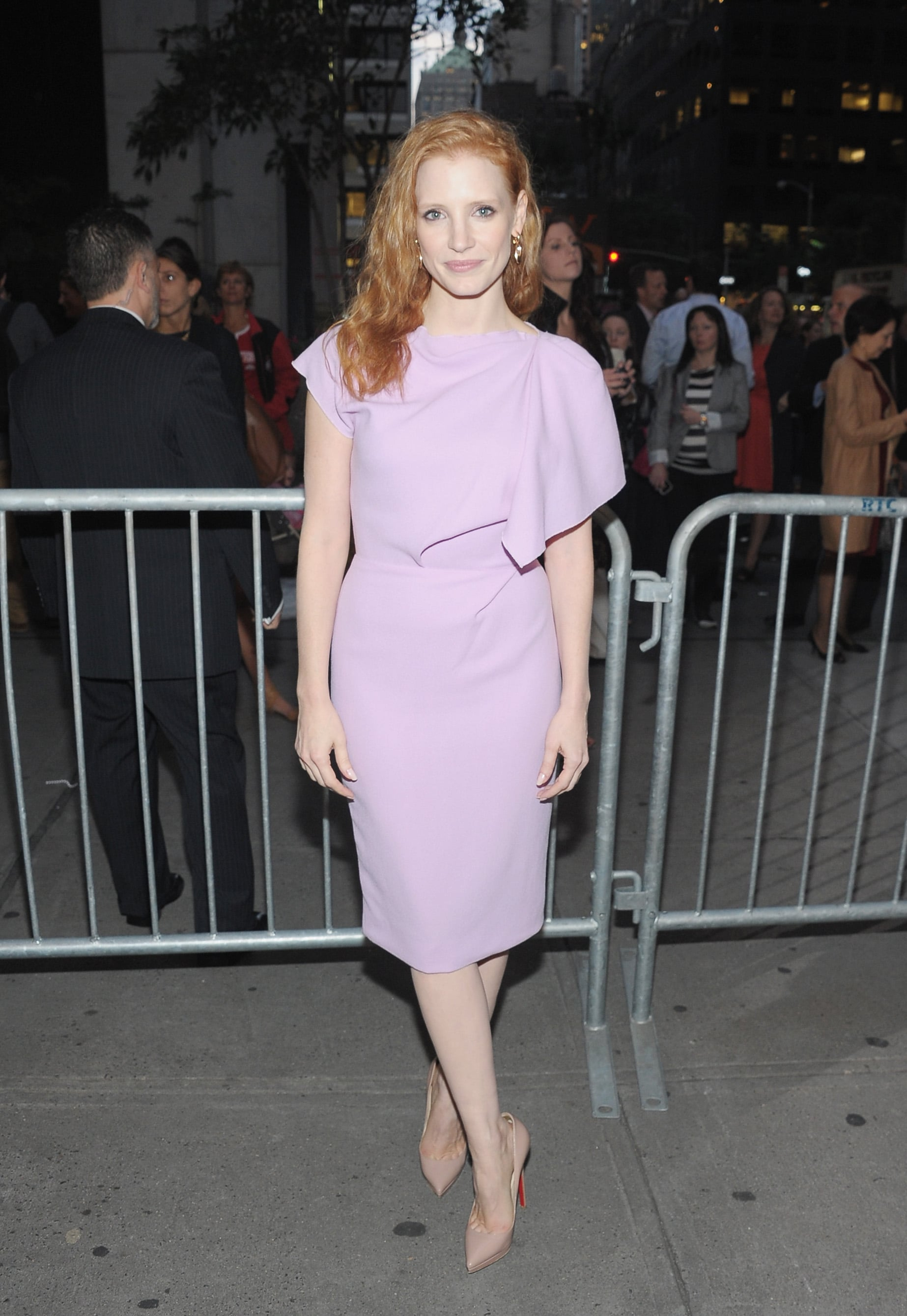 Jessica Chastain looked lovely in a violet dress.