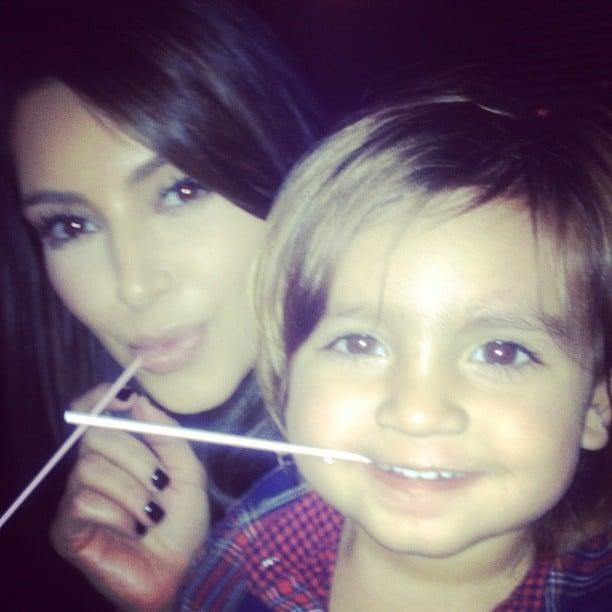 Mason Disick and Kim Kardashian got silly with straws.  Source: Instagram user kimkardashian