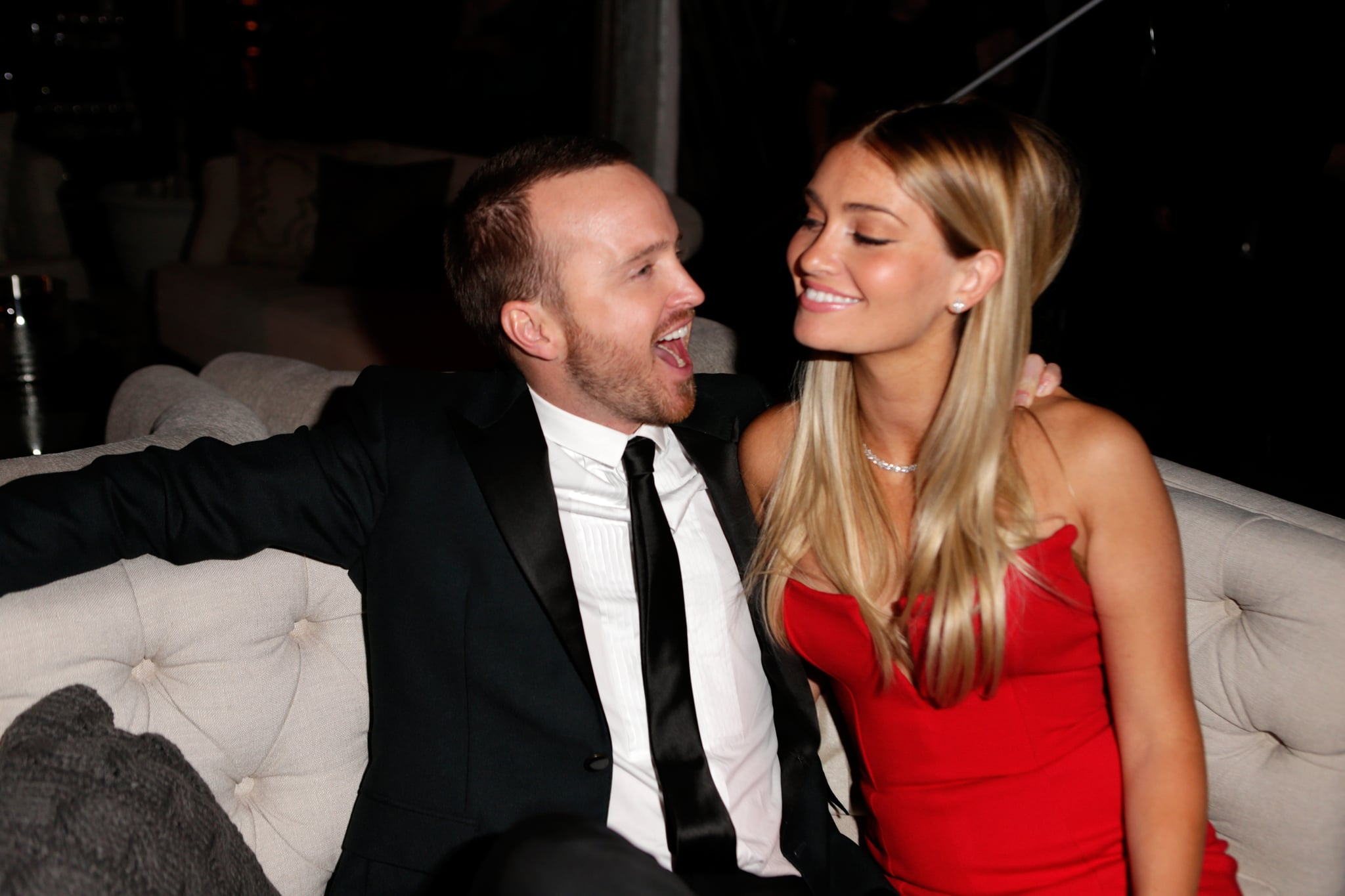 Aaron Paul and his wife, Lauren Parsekian, were just adorable inside the Weinstein Company soiree.