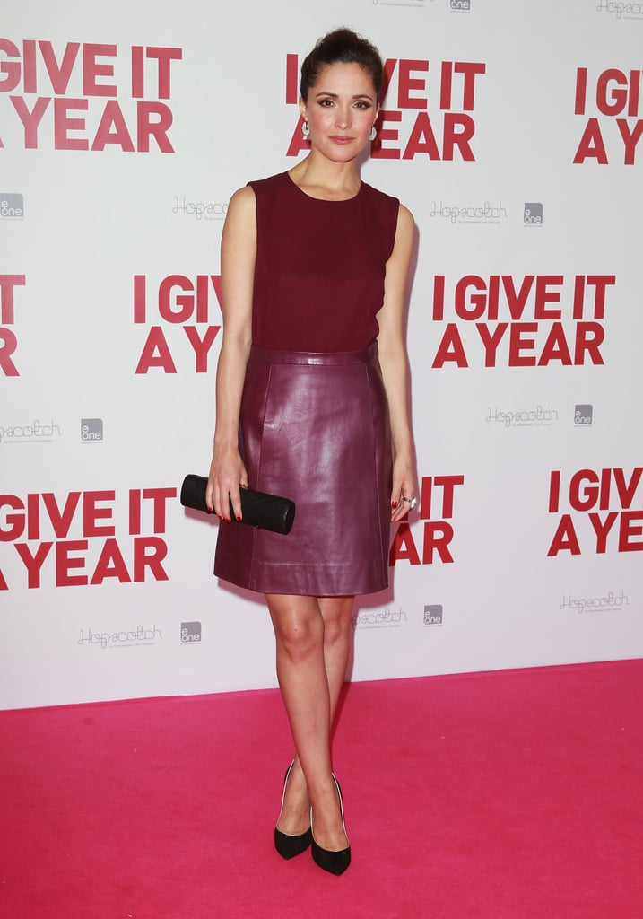 Rose Byrne wore her berry-hued Jill Stuart dress with Casadei's black Blade heels at the I Give It a Year premiere in Sydney.