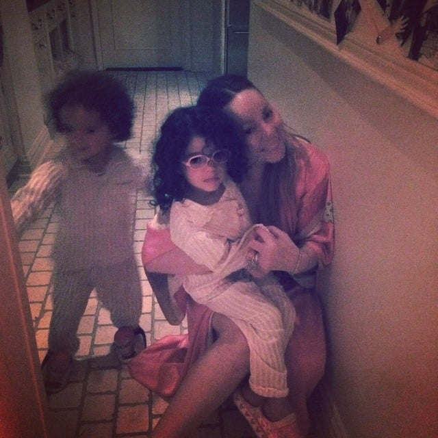 Mariah Carey snuck in a snuggle with Moroccan and Monroe one evening.  Source: Instagram user mariahcarey