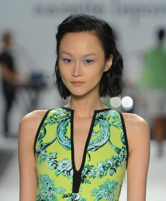 """Key makeup artist Max Delorme, working with MAC, set out to create a makeup look representative of a fun girl, but one with a bit more of an edge. Models wore a high-contrast eye that was the focal point of the entire makeup palette. He dubbed it """"punky sexy."""""""