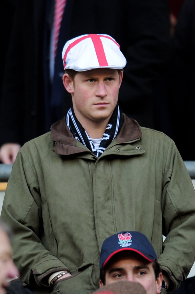 Prince Harry prepared for a championship rugby match between England and France in London on Feb. 26, 2011.