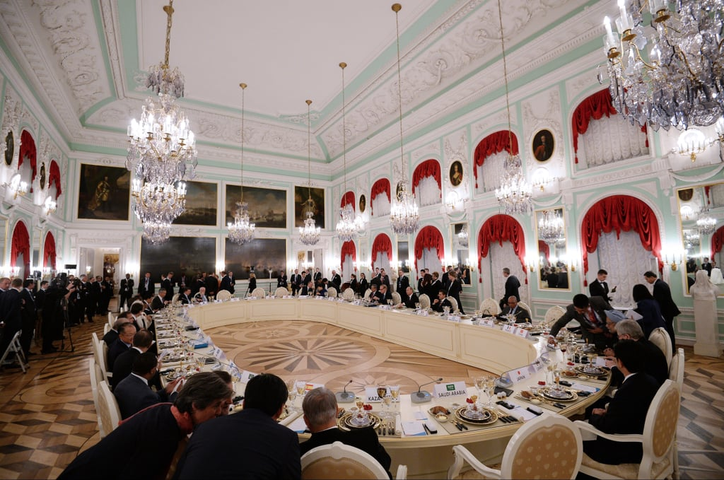 G20 Summit members got to work during their lavish dinner on Thursday.