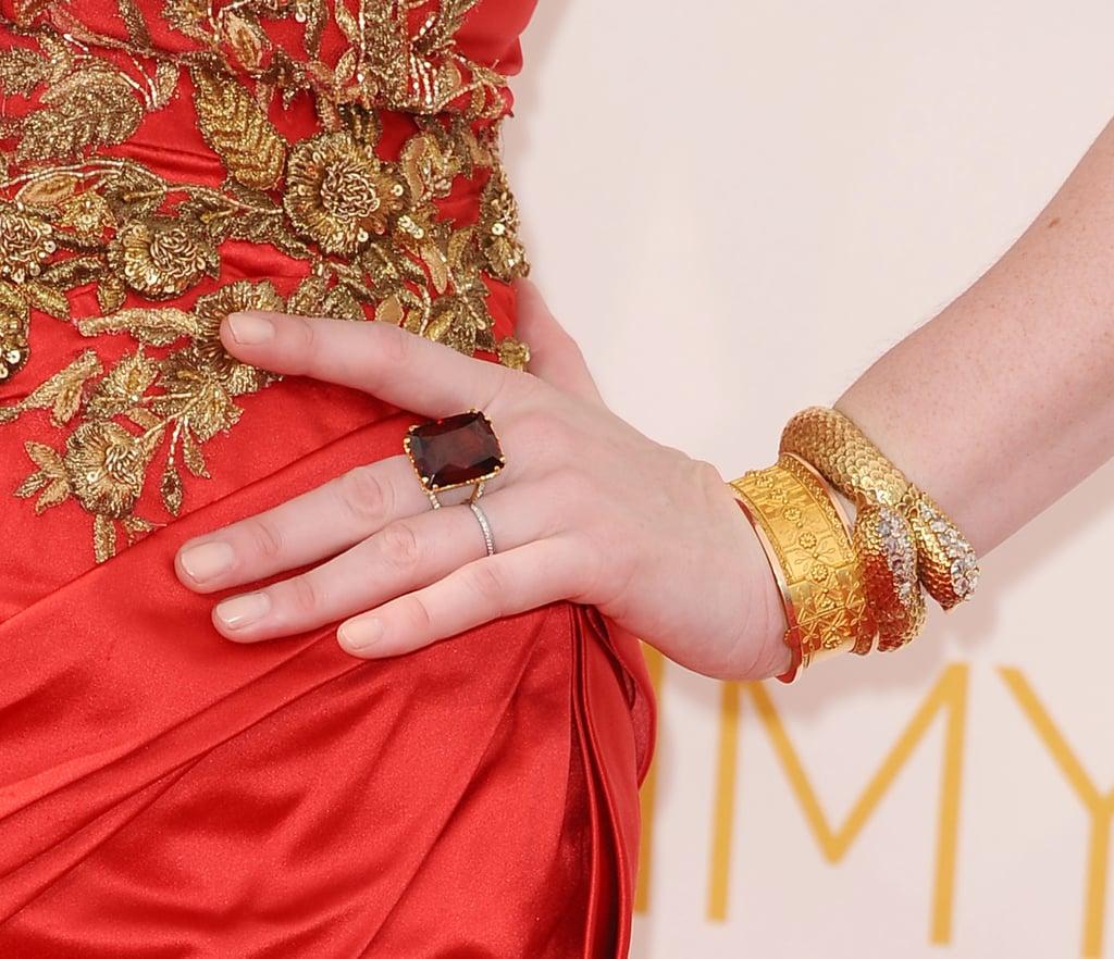 Behold Lawren's favorite detail: the lovebird bracelet.