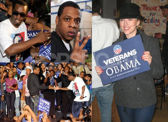 Photos of Scarlett Johansson, Jay-Z Rallying For Obama in Ohio and Florida