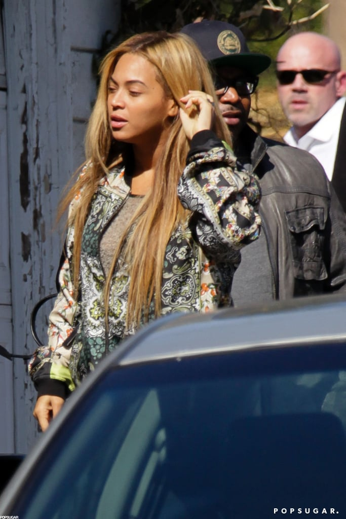 Beyonce Knowles wore a printed jacket out in LA.