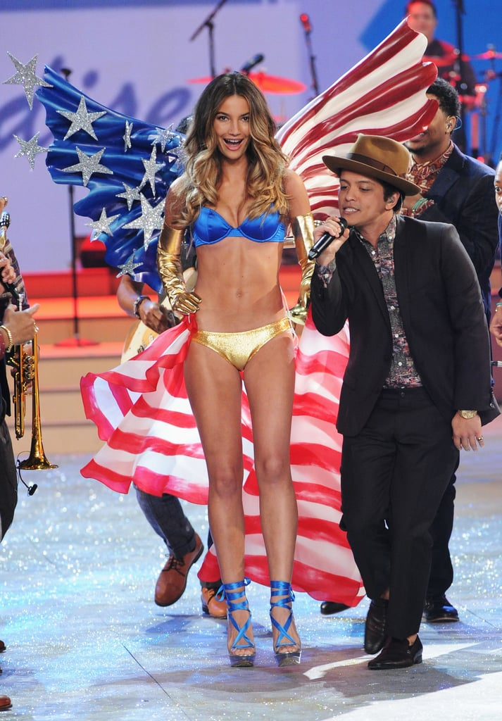 Lily Aldridge wore stars and stripes to walk with Bruno Mars on the runway.
