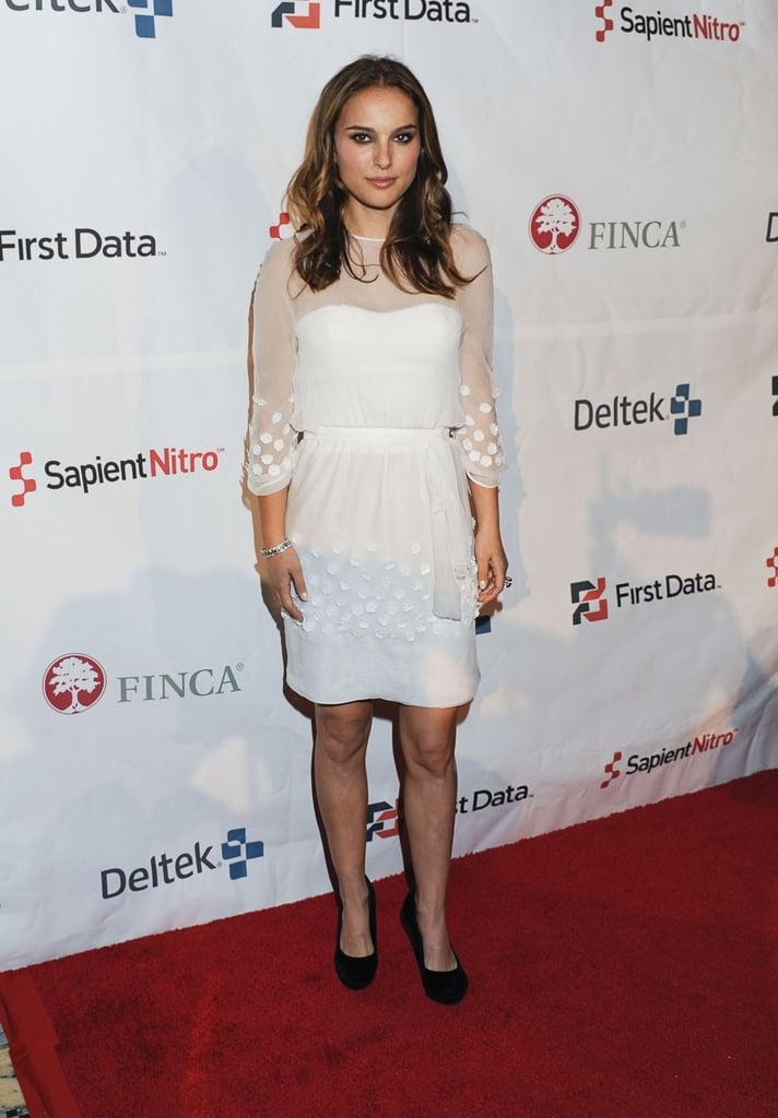 Natalie Portman in a Little White Dress at the 2011 FINCA Celebration
