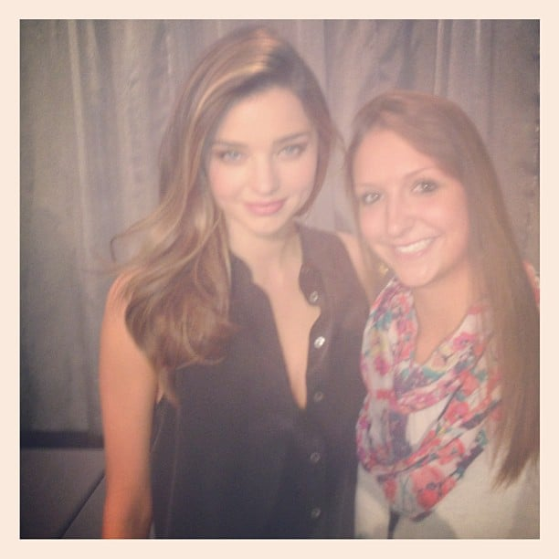 Miranda Kerr made a new friend backstage at the Victoria's Secret Fashion Show. Source: Instagram user mirandakerrverified