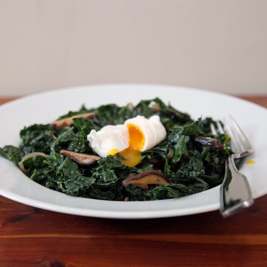 Kale With Shiitakes and Poached Egg
