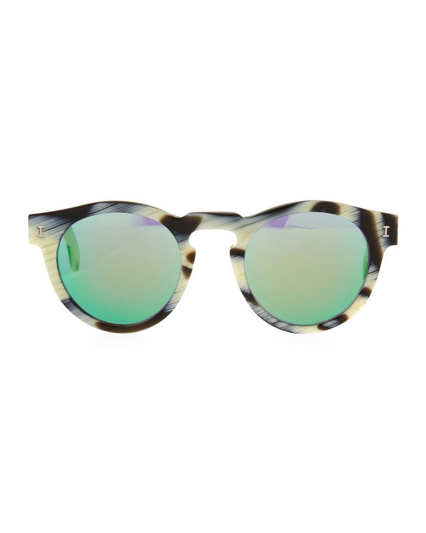 Illesteva Leonard Round Horn-Pattern Sunglasses With Mirror Lens