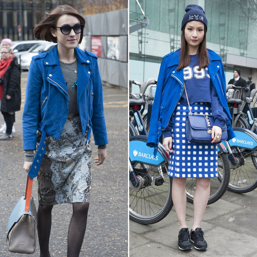 We spied Ella Catliff and another showgoer sporting the same blue suede Acne jacket.
