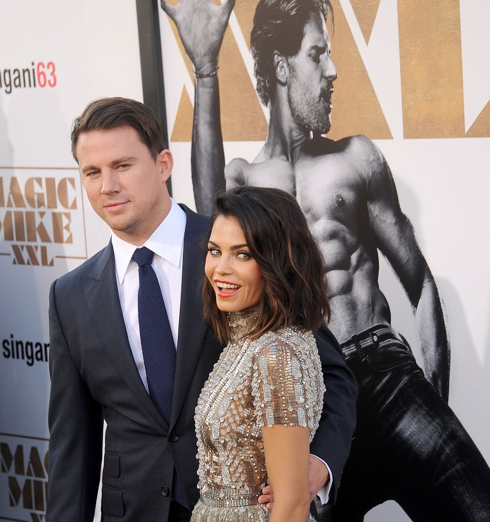 Channing and Jenna posed for photos in front of a giant posteR of shirtless Joe Manganiello at the LA premiere of Magic Mike XXL in June 2015.