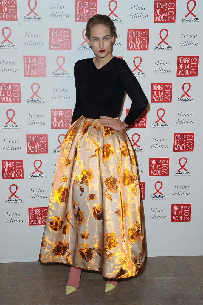 Leelee Sobieski donned a statement-making voluminous floral skirt from Christian Dior's Spring 2013 Couture collection to the Sidaction Gala in Paris.