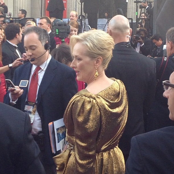 Meryl Streep looked Oscar-ready in her golden gown when we snapped this pic from the red carpet.