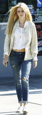 Mischa Barton Wears Floral Jacket and White Oxfords in LA