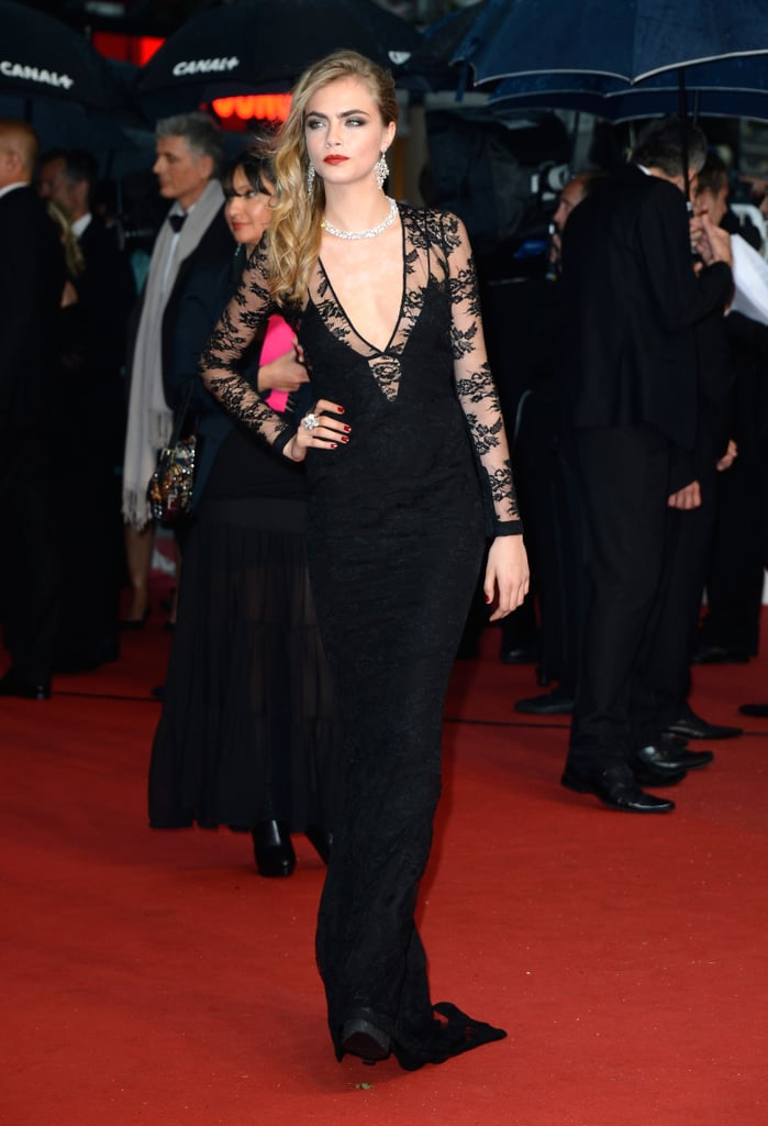 Cara Delevingne wore a Burberry gown at the Cannes premiere of The Great Gatsby.