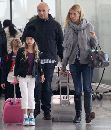 Gwyneth Paltrow arrived in London with Apple Martin and Moses Martin by her side.