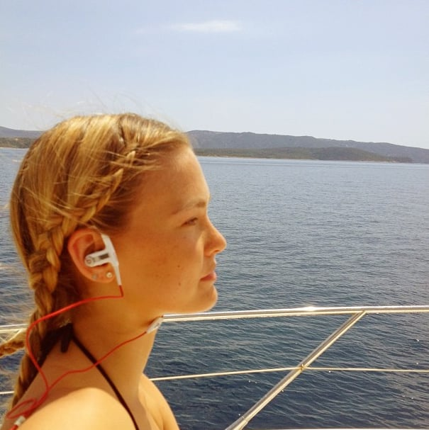 Bar Refaeli chilled out on a boat.  Source: Instagram user barrefaeli