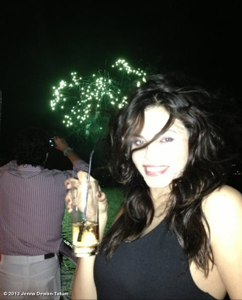 Pregnant Jenna Dewan watched fireworks and sipped ginger ale in St. Barts with Channing Tatum.  Source: Jenna Dewan Tatum on WhoSay