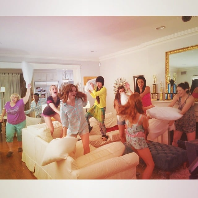 The Pitch Perfect 2 cast had an epic pillow fight. Source: Instagram user annakendrick47