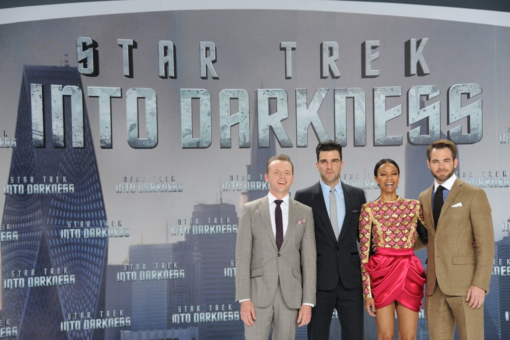 Simon Pegg, Zachary Quinto, Zoe Saldana, and Chris Pine posed at the Star Trek Into the Darkness premiere in Berlin.